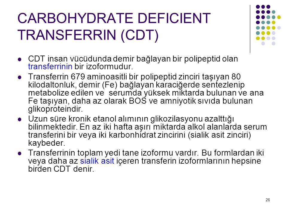 27 CARBOHYDRATE DEFICIENT TRANSFERRIN (CDT) En az bir hafta süreyle günde ortalama 60 (50-80 gram) gramlık alkol alımı CDT'nin ortaya çıkışını uyarır.