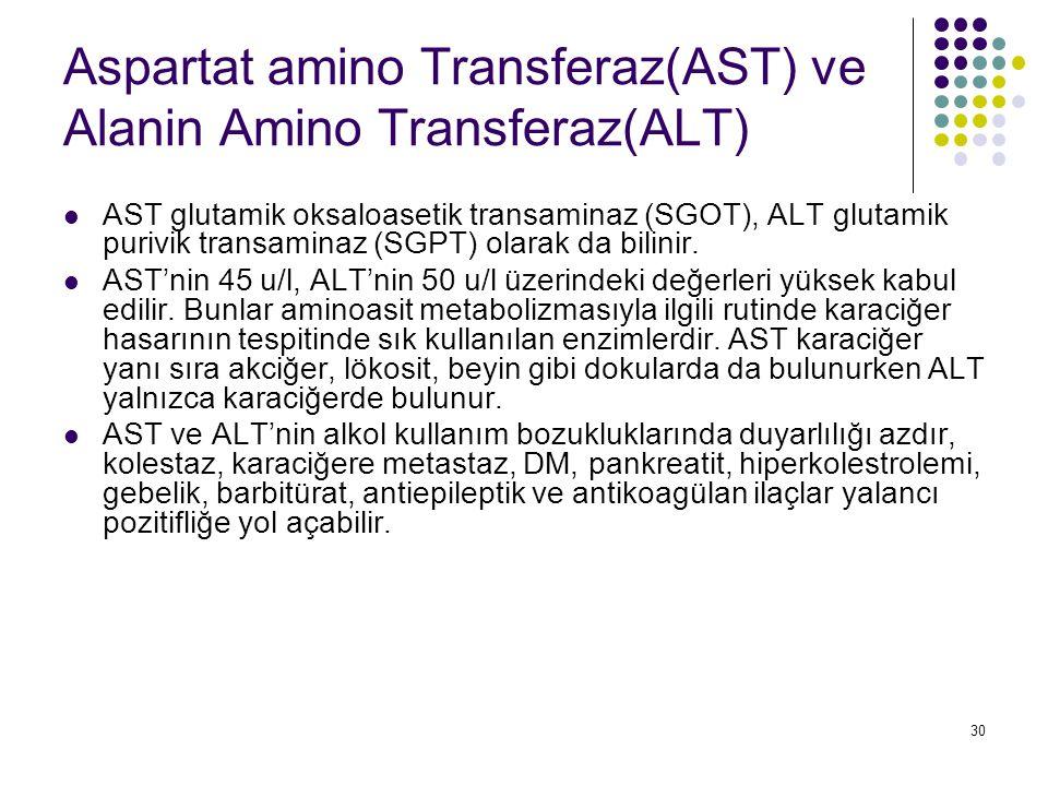 30 Aspartat amino Transferaz(AST) ve Alanin Amino Transferaz(ALT) AST glutamik oksaloasetik transaminaz (SGOT), ALT glutamik purivik transaminaz (SGPT
