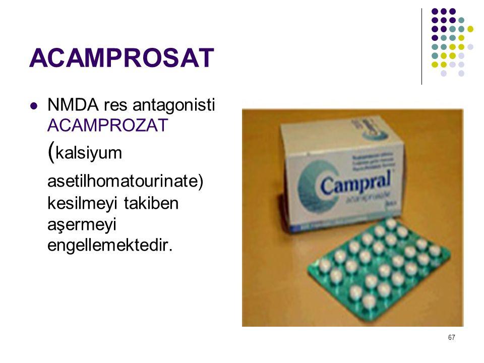 68 ACAMPROSAT Campral® 333mg acamprosate calcium 60kg altında 2x2 60kg üstünde 3x2 1989'dan beri Avrupa'da kullanılıyor.