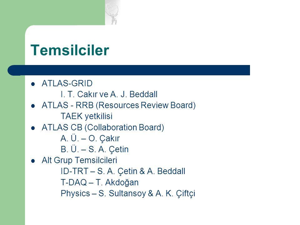 Temsilciler ATLAS-GRID I. T. Cakır ve A. J. Beddall ATLAS - RRB (Resources Review Board) TAEK yetkilisi ATLAS CB (Collaboration Board) A. Ü. – O. Çakı