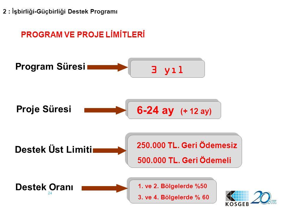 24 Program Süresi 3 yıl Proje Süresi 6-24 ay (+ 12 ay) Destek Üst Limiti 250.000 TL. Geri Ödemesiz 500.000 TL. Geri Ödemeli 250.000 TL. Geri Ödemesiz
