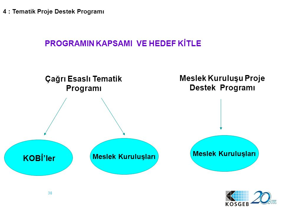 38 PROGRAMIN KAPSAMI VE HEDEF KİTLE Meslek Kuruluşu Proje Destek Programı Çağrı Esaslı Tematik Programı KOBİ'ler Meslek Kuruluşları 4 : Tematik Proje