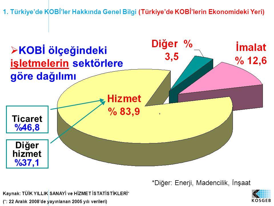 Kaynak: TÜİK YILLIK SANAYİ ve HİZMET İSTATİSTİKLERİ* (*: 22 Aralık 2008'de yayınlanan 2005 yılı verileri) *Diğer: Enerji, Madencilik, İnşaat  KOBİ öl
