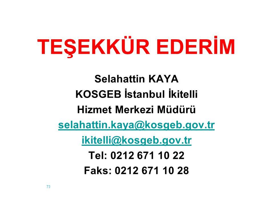 73 TEŞEKKÜR EDERİM Selahattin KAYA KOSGEB İstanbul İkitelli Hizmet Merkezi Müdürü selahattin.kaya@kosgeb.gov.tr ikitelli@kosgeb.gov.tr Tel: 0212 671 1