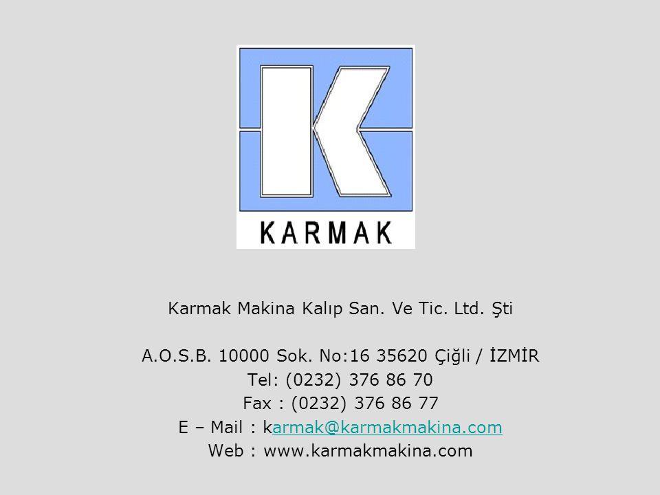 Karmak Makina Kalıp San. Ve Tic. Ltd. Şti A.O.S.B. 10000 Sok. No:16 35620 Çiğli / İZMİR Tel: (0232) 376 86 70 Fax : (0232) 376 86 77 E – Mail : karmak