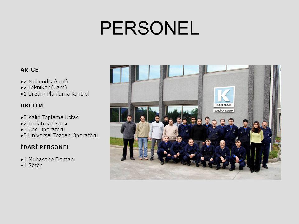 PERSONEL AR-GE 2 Mühendis (Cad) 2 Tekniker (Cam) 1 Üretim Planlama Kontrol ÜRETİM 3 Kalıp Toplama Ustası 2 Parlatma Ustası 6 Cnc Operatörü 5 Üniversal