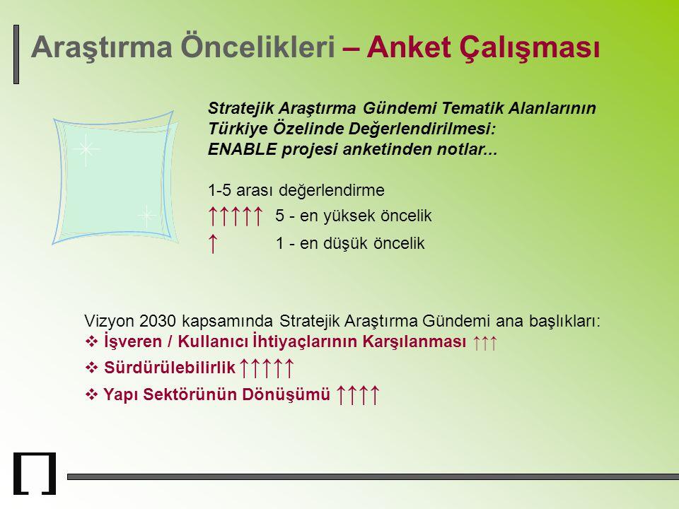 Araştırma Öncelikleri – Anket Çalışması Stratejik Araştırma Gündemi Tematik Alanlarının Türkiye Özelinde Değerlendirilmesi: ENABLE projesi anketinden