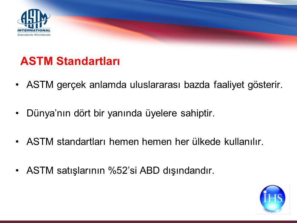 ASTM gerçek anlamda uluslararası bazda faaliyet gösterir. Dünya'nın dört bir yanında üyelere sahiptir. ASTM standartları hemen hemen her ülkede kullan