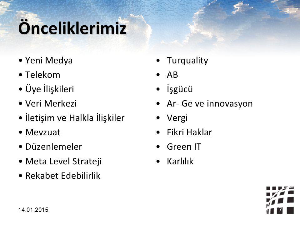 Önceliklerimiz Yeni Medya Telekom Üye İlişkileri Veri Merkezi İletişim ve Halkla İlişkiler Mevzuat Düzenlemeler Meta Level Strateji Rekabet Edebilirlik Turquality AB İşgücü Ar- Ge ve innovasyon Vergi Fikri Haklar Green IT Karlılık 14.01.20157