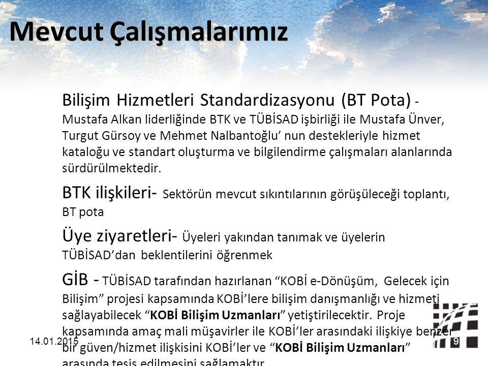 Mevcut Çalışmalarımız Bilişim Hizmetleri Standardizasyonu (BT Pota) - Mustafa Alkan liderliğinde BTK ve TÜBİSAD işbirliği ile Mustafa Ünver, Turgut Gü