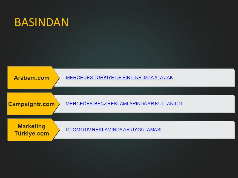 BASINDAN Arabam.com MERCEDES TÜRKİYE'DE BİR İLKE IMZA ATACAK Campaigntr.com MERCEDES-BENZ REKLAMLARINDA AR KULLANILDI Marketing Türkiye.com OTOMOTIV REKLAMINDA AR UYGULAMASI