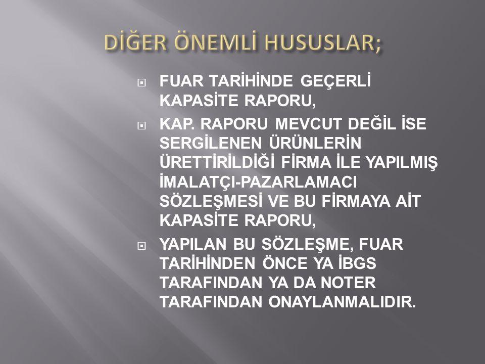  FUAR TARİHİNDE GEÇERLİ KAPASİTE RAPORU,  KAP.
