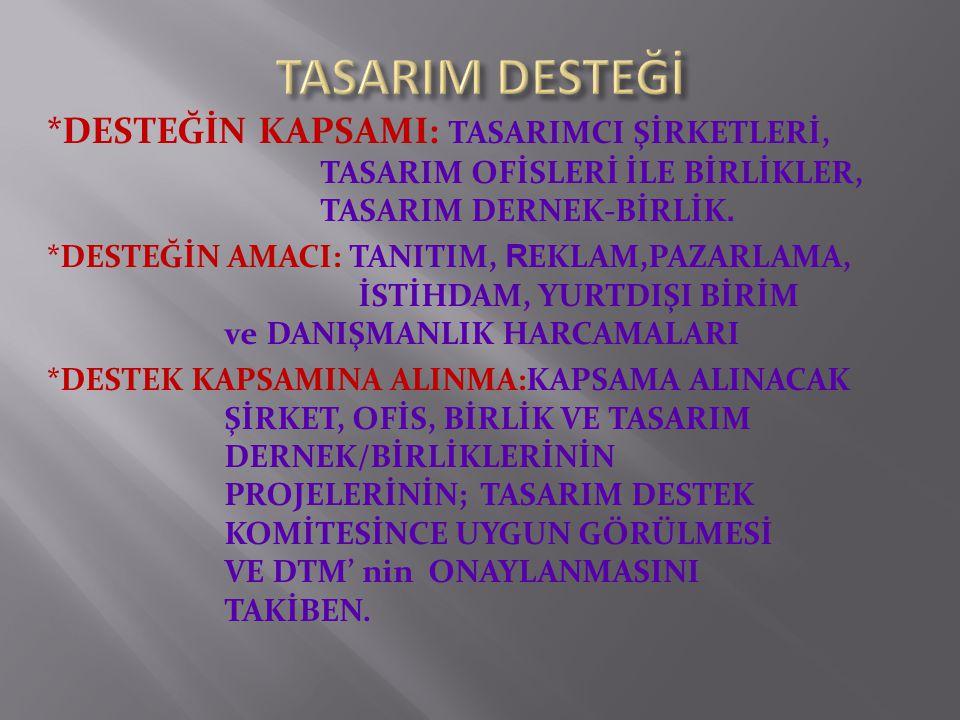 *DESTEĞİN KAPSAMI: TASARIMCI ŞİRKETLERİ, TASARIM OFİSLERİ İLE BİRLİKLER, TASARIM DERNEK-BİRLİK.