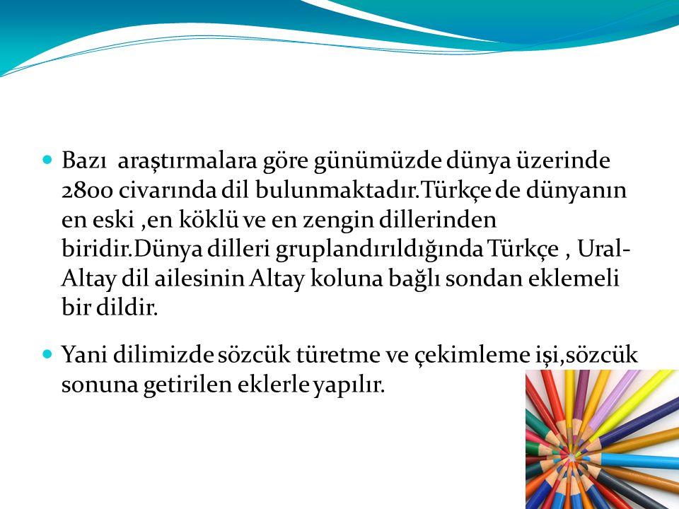 Bazı araştırmalara göre günümüzde dünya üzerinde 2800 civarında dil bulunmaktadır.Türkçe de dünyanın en eski,en köklü ve en zengin dillerinden biridir