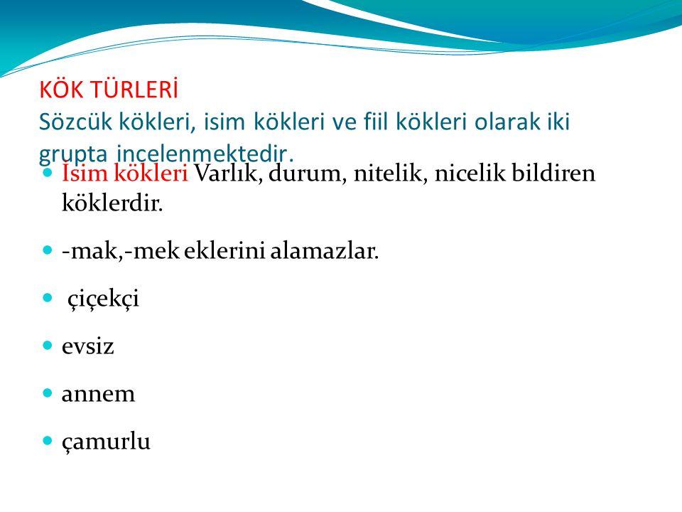 Türkçe Köklerin Özellikleri: 1.
