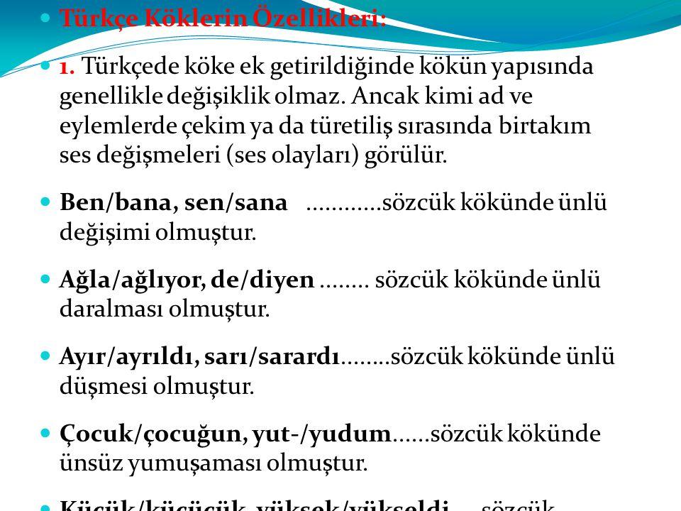 Türkçe Köklerin Özellikleri: 1. Türkçede köke ek getirildiğinde kökün yapısında genellikle değişiklik olmaz. Ancak kimi ad ve eylemlerde çekim ya da t