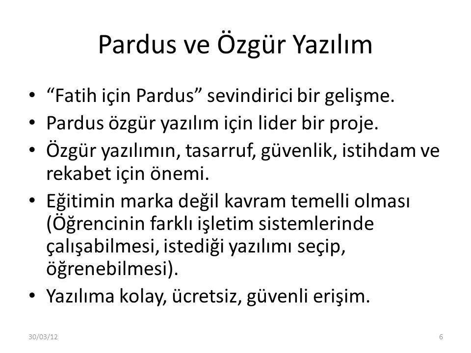 """Pardus ve Özgür Yazılım """"Fatih için Pardus"""" sevindirici bir gelişme. Pardus özgür yazılım için lider bir proje. Özgür yazılımın, tasarruf, güvenlik, i"""