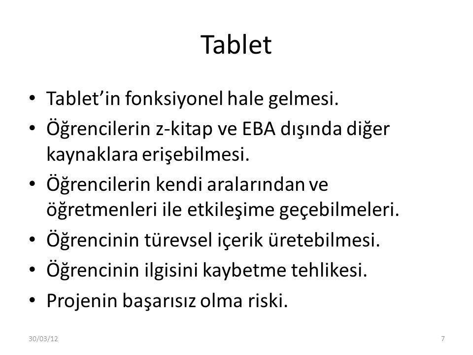 Tablet Tablet'in fonksiyonel hale gelmesi. Öğrencilerin z-kitap ve EBA dışında diğer kaynaklara erişebilmesi. Öğrencilerin kendi aralarından ve öğretm