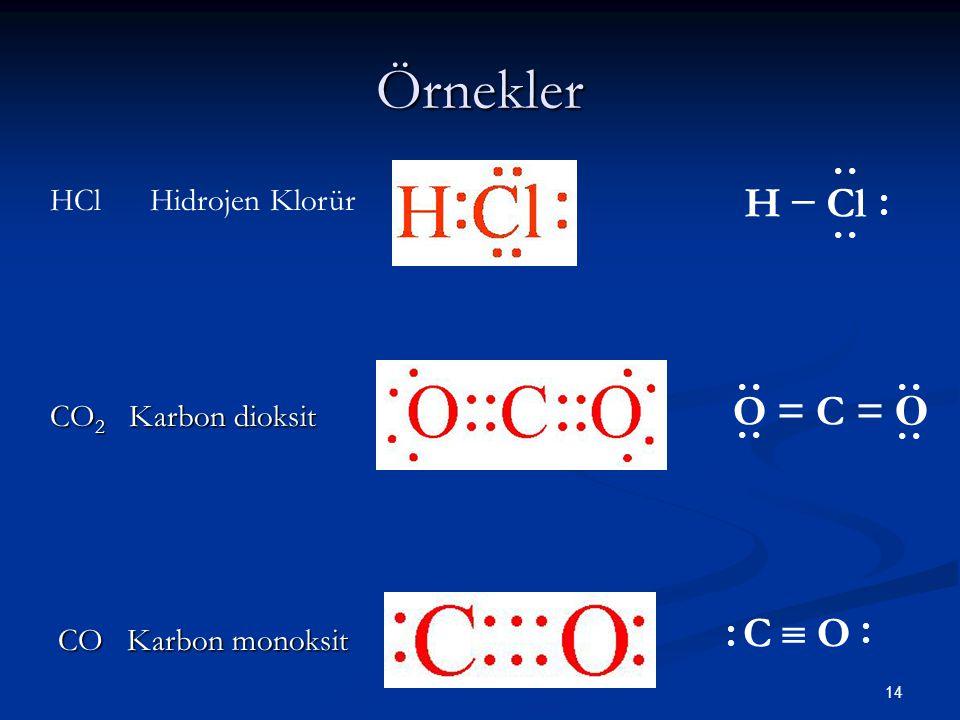 Örnekler 14 CO 2 Karbon dioksit CO Karbon monoksit HCl Hidrojen Klorür H − Cl O = C = O C  O