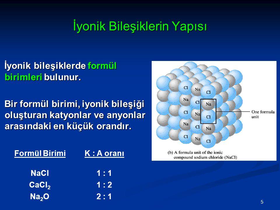 İyonik Bileşiklerin Yapısı İyonik bileşiklerde formül birimleri bulunur.
