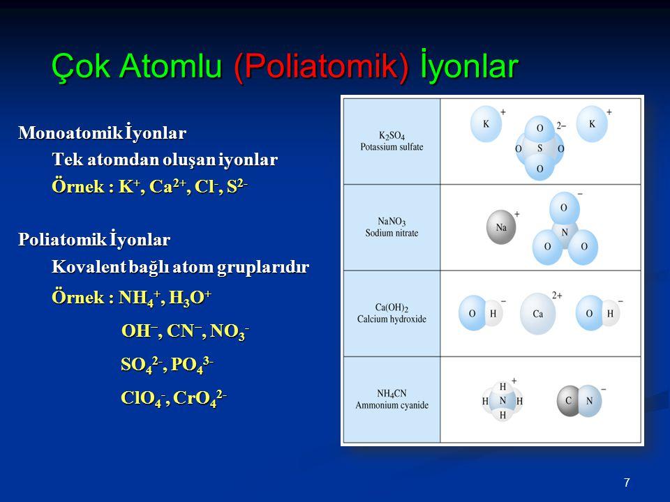 Çok Atomlu (Poliatomik) İyonlar Çok Atomlu (Poliatomik) İyonlar Monoatomik İyonlar Tek atomdan oluşan iyonlar Örnek : K +, Ca 2+, Cl -, S 2- Poliatomik İyonlar Kovalent bağlı atom gruplarıdır Örnek : NH 4 +, H 3 O + OH −, CN −, NO 3 - OH −, CN −, NO 3 - SO 4 2-, PO 4 3- SO 4 2-, PO 4 3- ClO 4 -, CrO 4 2- ClO 4 -, CrO 4 2- 7