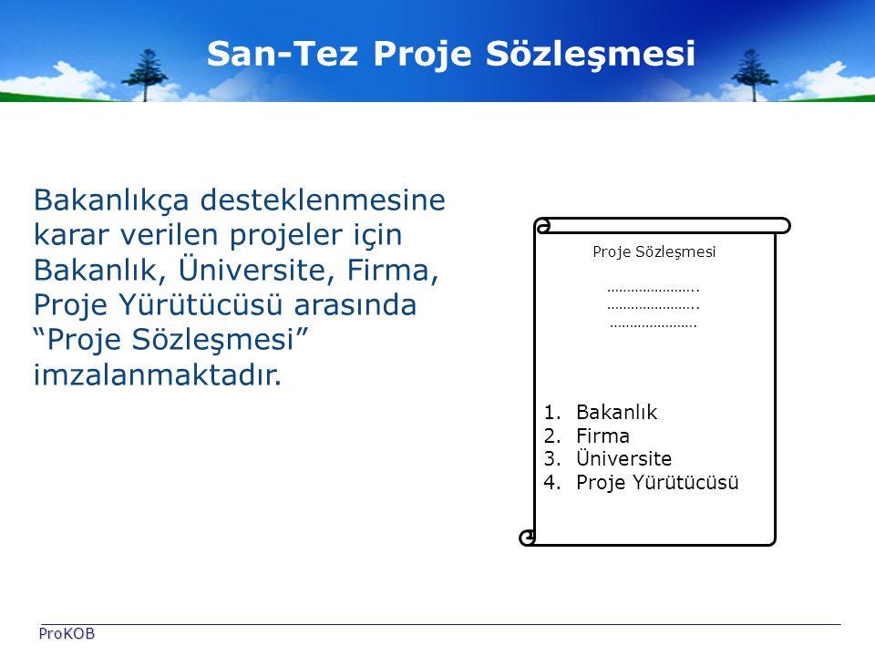 San-Tez Proje Sözleşmesi Bakanlıkça desteklenmesine karar verilen projeler için Bakanlık, Üniversite, Firma, Proje Yürütücüsü arasında Proje Sözleşmesi imzalanmaktadır.