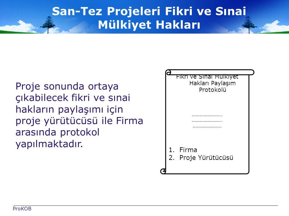 San-Tez Projeleri Fikri ve Sınai Mülkiyet Hakları Proje sonunda ortaya çıkabilecek fikri ve sınai hakların paylaşımı için proje yürütücüsü ile Firma arasında protokol yapılmaktadır.