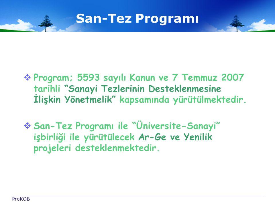 San-Tez Programı  Program; 5593 sayılı Kanun ve 7 Temmuz 2007 tarihli Sanayi Tezlerinin Desteklenmesine İlişkin Yönetmelik kapsamında yürütülmektedir.