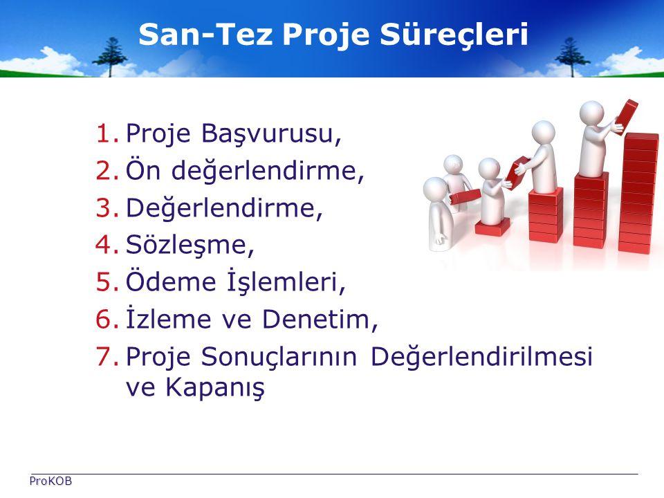 San-Tez Proje Süreçleri 1.Proje Başvurusu, 2.Ön değerlendirme, 3.Değerlendirme, 4.Sözleşme, 5.Ödeme İşlemleri, 6.İzleme ve Denetim, 7.Proje Sonuçlarının Değerlendirilmesi ve Kapanış ProKOB