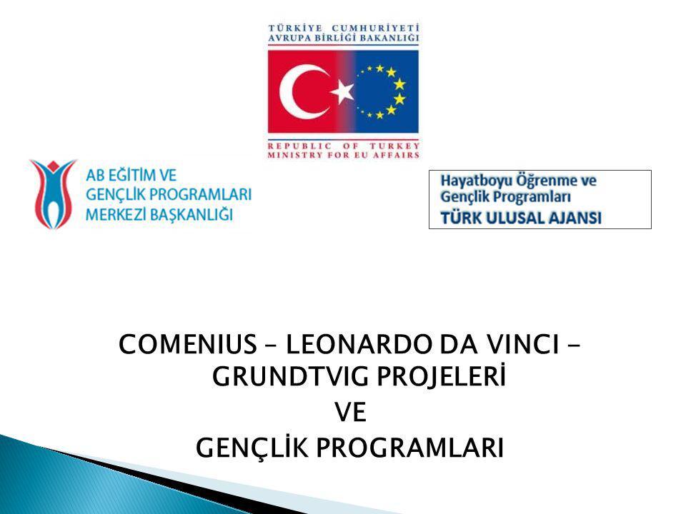 COMENIUS – LEONARDO DA VINCI - GRUNDTVIG PROJELERİ VE GENÇLİK PROGRAMLARI