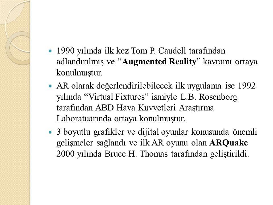"""1990 yılında ilk kez Tom P. Caudell tarafından adlandırılmış ve """"Augmented Reality"""" kavramı ortaya konulmuştur. AR olarak değerlendirilebilecek ilk uy"""