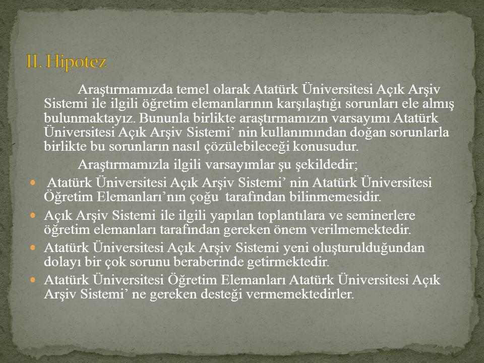 Araştırmamızda temel olarak Atatürk Üniversitesi Açık Arşiv Sistemi ile ilgili öğretim elemanlarının karşılaştığı sorunları ele almış bulunmaktayız. B