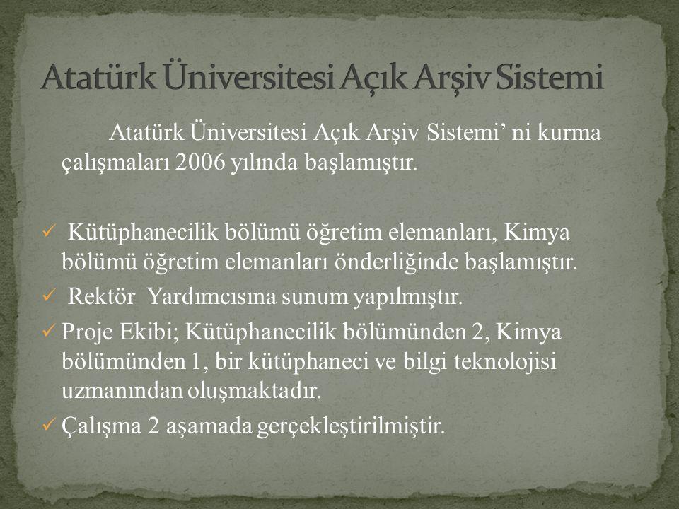 Atatürk Üniversitesi Açık Arşiv Sistemi' ni kurma çalışmaları 2006 yılında başlamıştır. Kütüphanecilik bölümü öğretim elemanları, Kimya bölümü öğretim