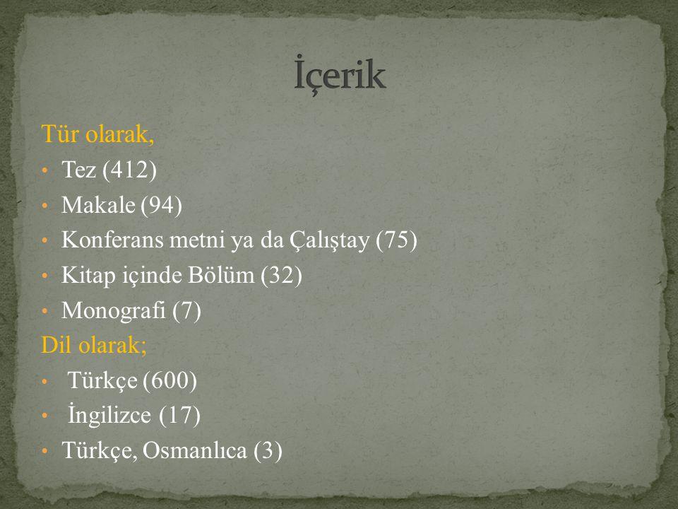 Tür olarak, Tez (412) Makale (94) Konferans metni ya da Çalıştay (75) Kitap içinde Bölüm (32) Monografi (7) Dil olarak; Türkçe (600) İngilizce (17) Tü