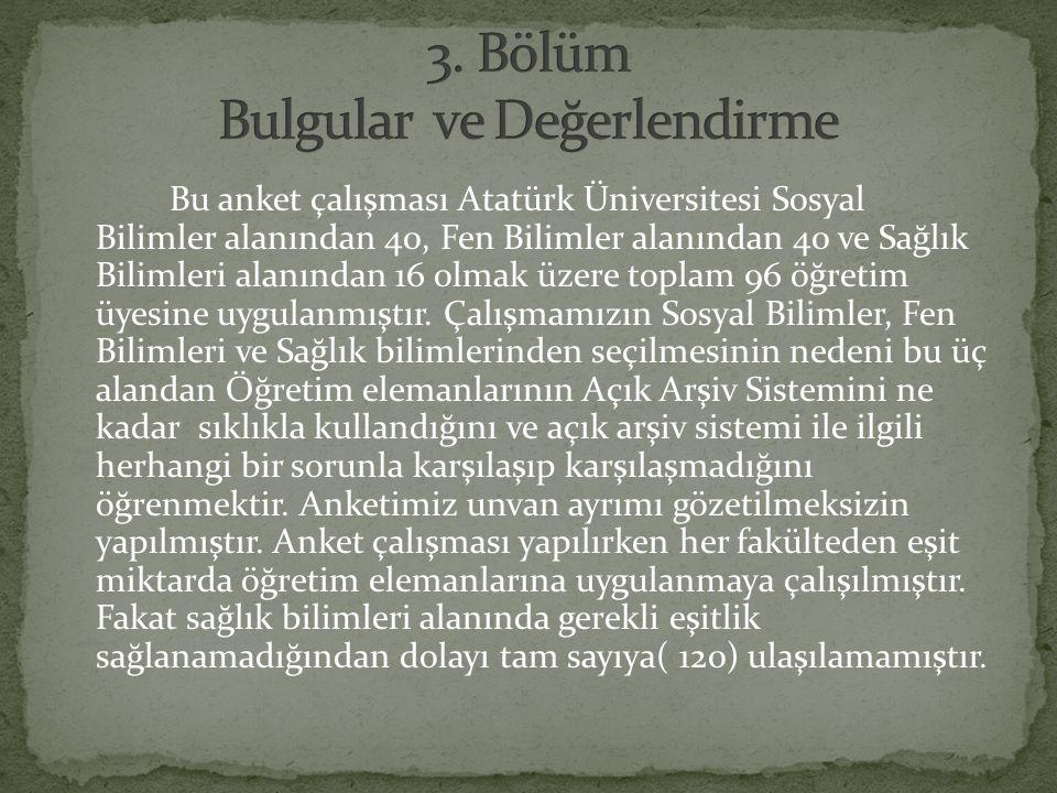 Bu anket çalışması Atatürk Üniversitesi Sosyal Bilimler alanından 40, Fen Bilimler alanından 40 ve Sağlık Bilimleri alanından 16 olmak üzere toplam 96