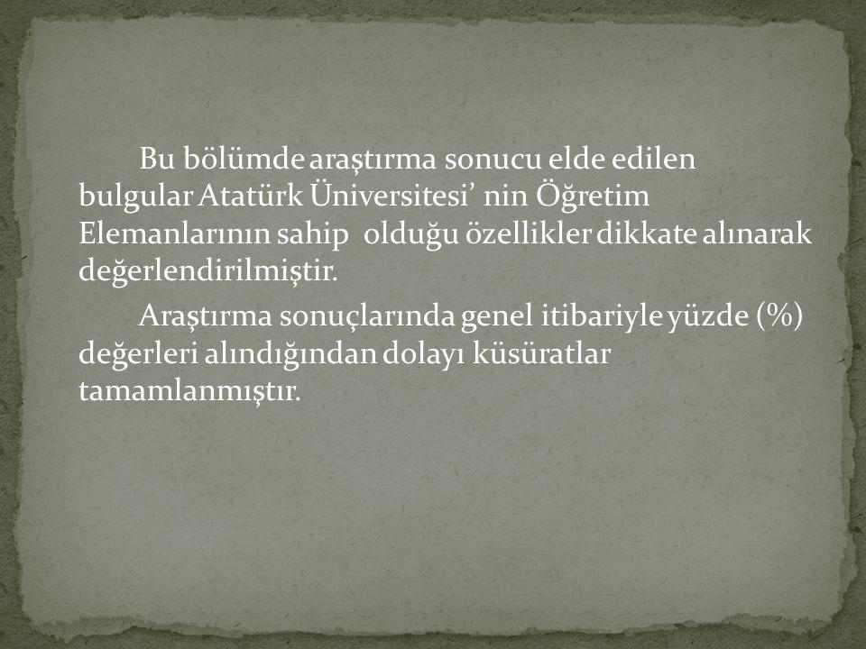 Bu bölümde araştırma sonucu elde edilen bulgular Atatürk Üniversitesi' nin Öğretim Elemanlarının sahip olduğu özellikler dikkate alınarak değerlendiri