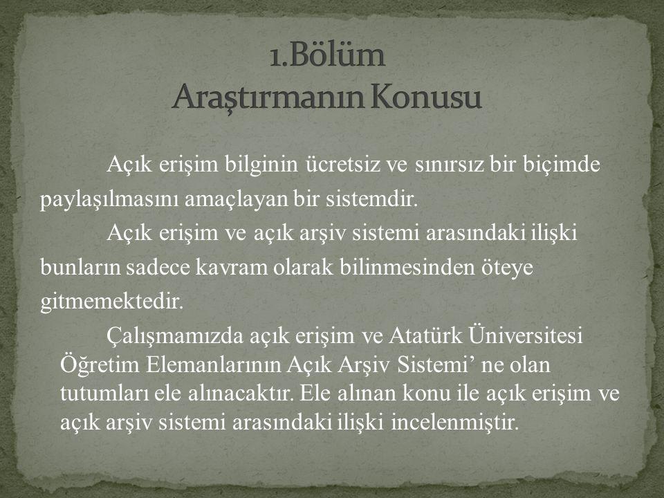 Atatürk Üniversitesi Öğretim Elemanları' nın açık erişim hakkındaki bilgileri ve Atatürk Üniversitesi Açık Arşiv Sistemi' ne karşı tutumlarını saptamak amacıyla yapılmış bir çalışmadır.