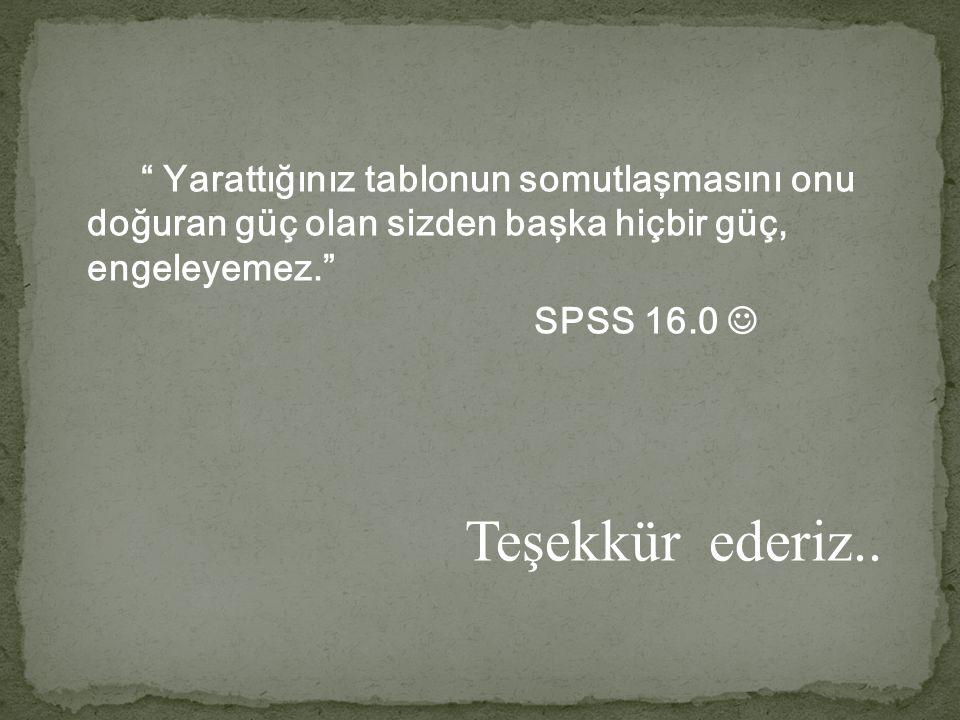""""""" Yarattığınız tablonun somutlaşmasını onu doğuran güç olan sizden başka hiçbir güç, engeleyemez."""" SPSS 16.0 Teşekkür ederiz.."""