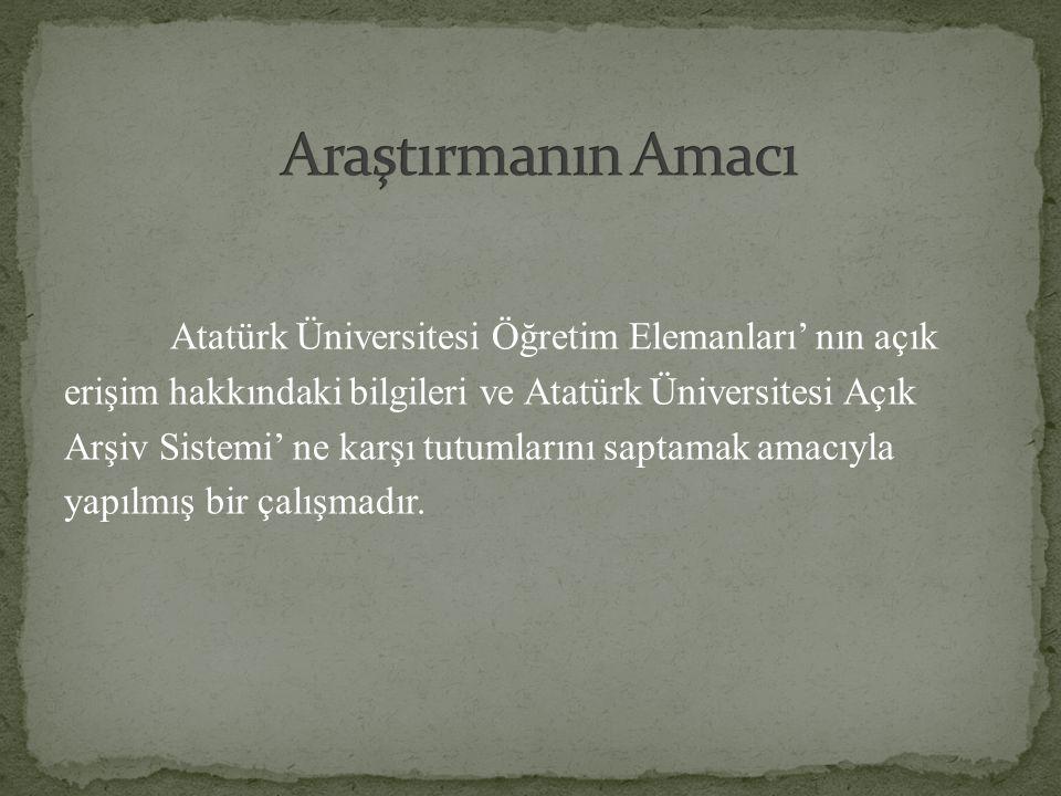 Atatürk Üniversitesi Öğretim Elemanları' nın açık erişim hakkındaki bilgileri ve Atatürk Üniversitesi Açık Arşiv Sistemi' ne karşı tutumlarını saptama