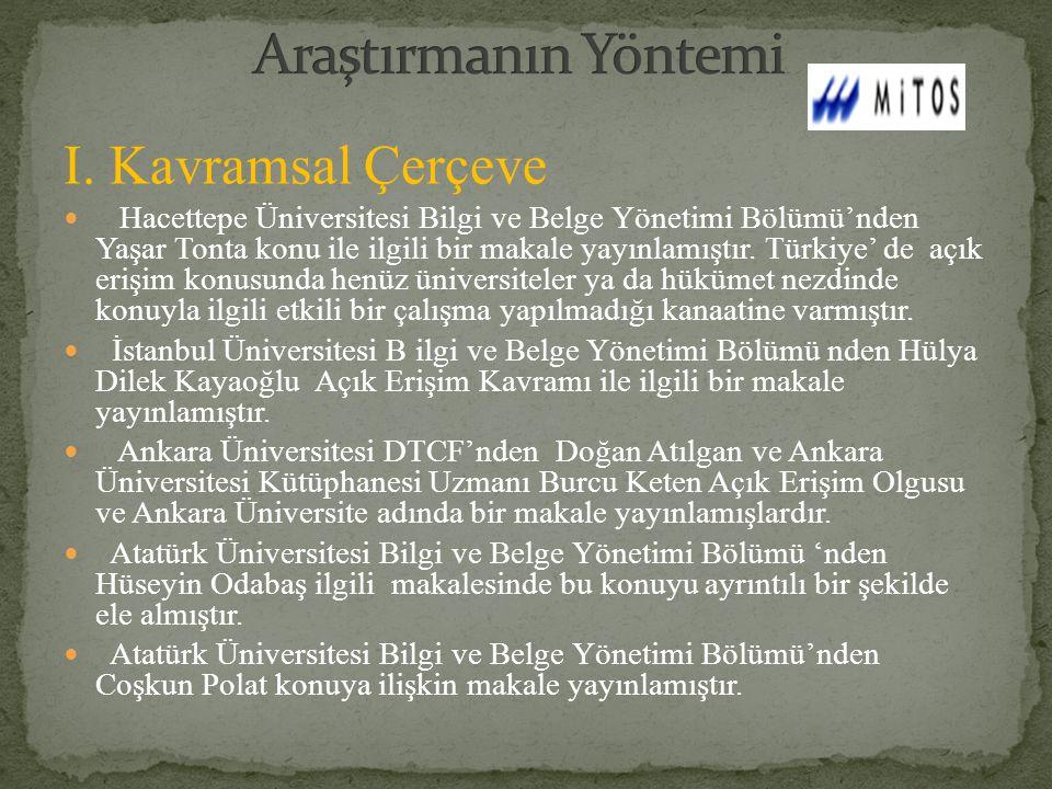 I. Kavramsal Çerçeve Hacettepe Üniversitesi Bilgi ve Belge Yönetimi Bölümü'nden Yaşar Tonta konu ile ilgili bir makale yayınlamıştır. Türkiye' de açık