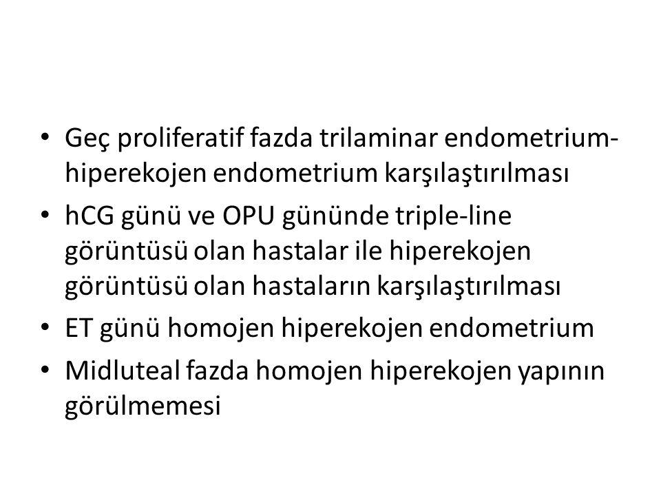 Geç proliferatif fazda trilaminar endometrium- hiperekojen endometrium karşılaştırılması hCG günü ve OPU gününde triple-line görüntüsü olan hastalar i