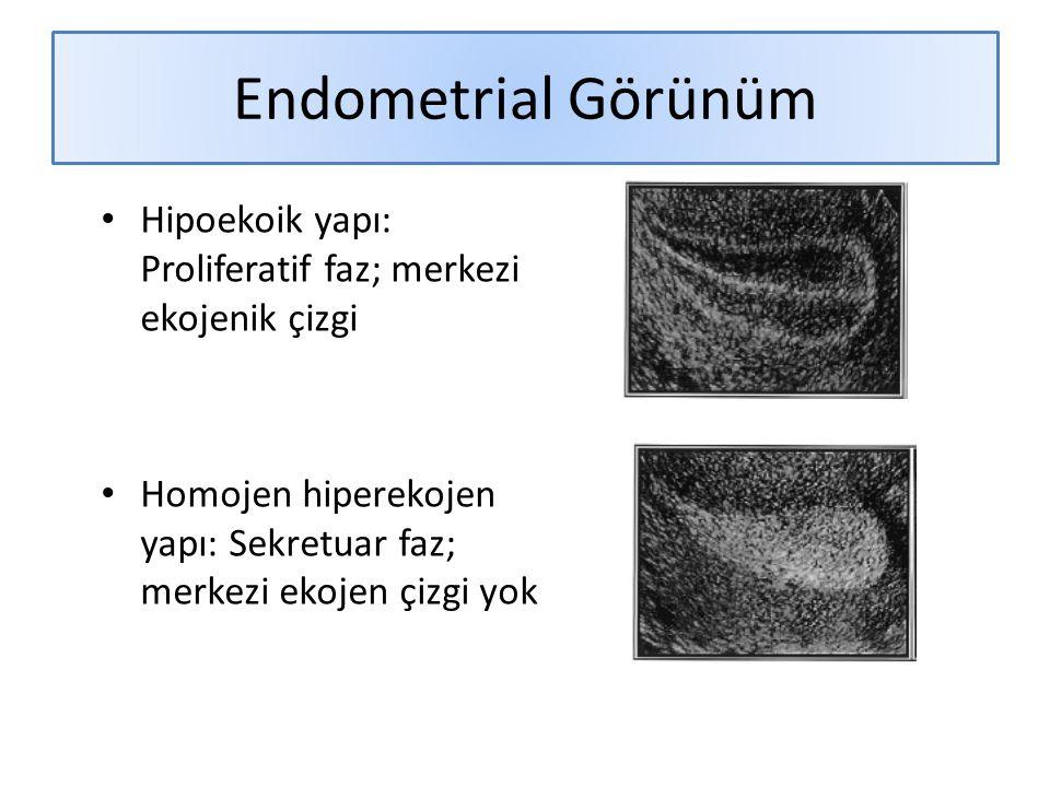 Endometrial Görünüm Hipoekoik yapı: Proliferatif faz; merkezi ekojenik çizgi Homojen hiperekojen yapı: Sekretuar faz; merkezi ekojen çizgi yok