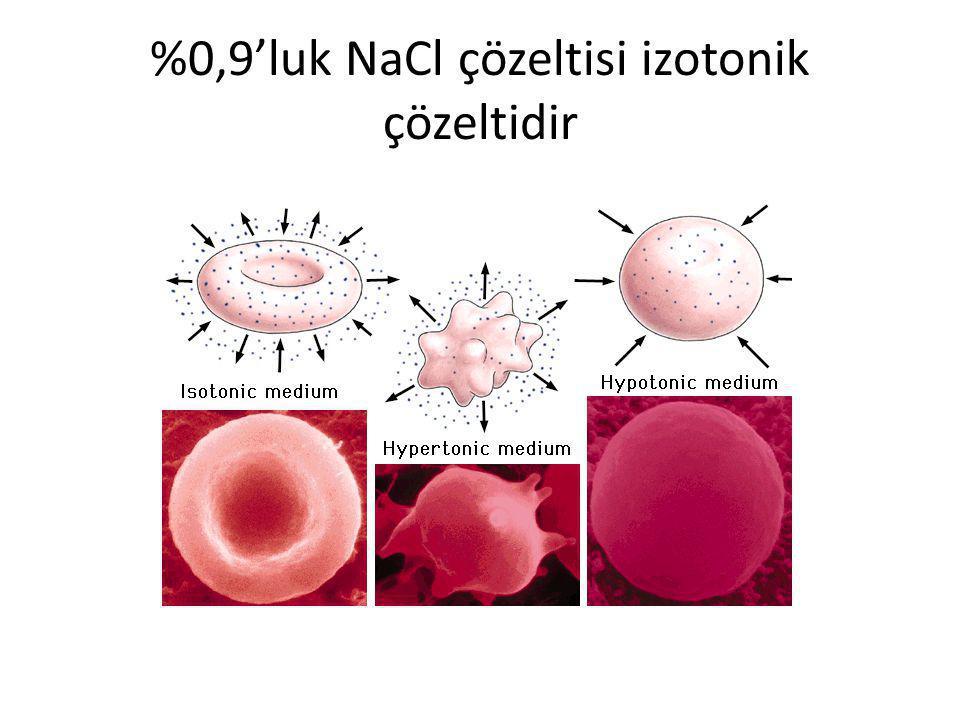 %0,9'luk NaCl çözeltisi izotonik çözeltidir