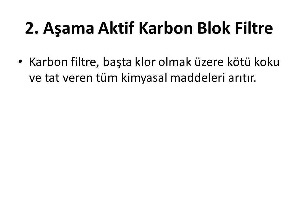 2. Aşama Aktif Karbon Blok Filtre Karbon filtre, başta klor olmak üzere kötü koku ve tat veren tüm kimyasal maddeleri arıtır.