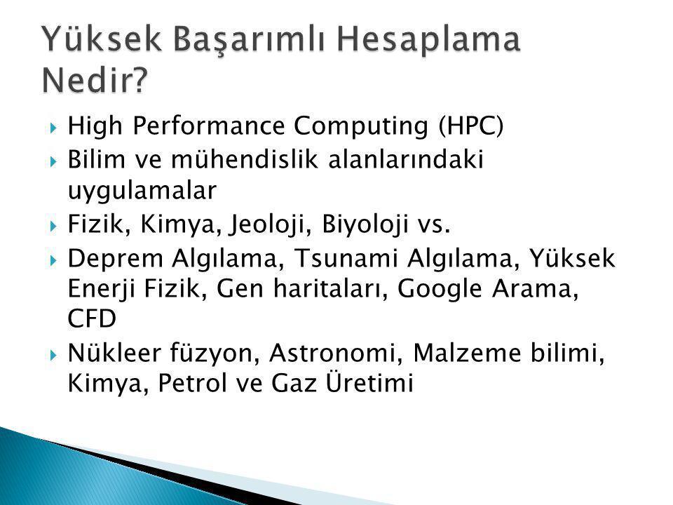  High Performance Computing (HPC)  Bilim ve mühendislik alanlarındaki uygulamalar  Fizik, Kimya, Jeoloji, Biyoloji vs.  Deprem Algılama, Tsunami A