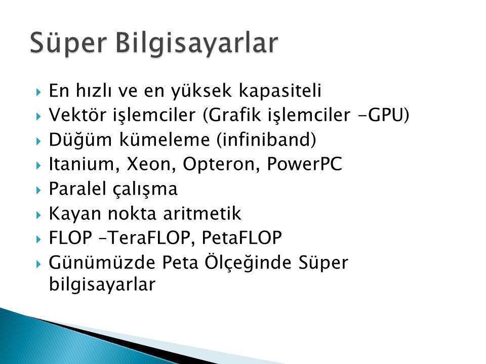 En hızlı ve en yüksek kapasiteli  Vektör işlemciler (Grafik işlemciler -GPU)  Düğüm kümeleme (infiniband)  Itanium, Xeon, Opteron, PowerPC  Para