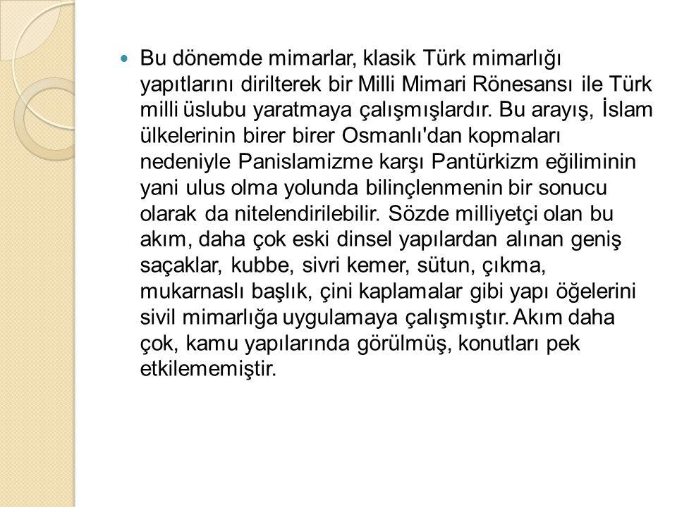 Akımın öncüleri Mimar Kemalettin ve Vedat Bey ler ülke mimarlığını yabancı etkilerden arındırmak amacıyla yola çıkıp, yerel seçmeciliğe yöneldiler ve yalnızca Osmanlı nın son dönemini değil, Cumhuriyetin ilk yıllarındaki Türk mimarlığını da büyük ölçüde etkilediler.