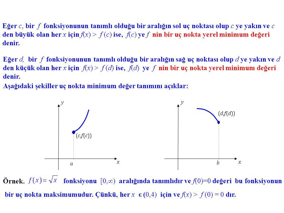 Uç Nokta Ekstremumları. Eğer a, bir f fonksiyonunun tanımlı olduğu bir aralığın sol uç noktası olup a ya yakın ve a dan büyük olan her x için f(x) < f
