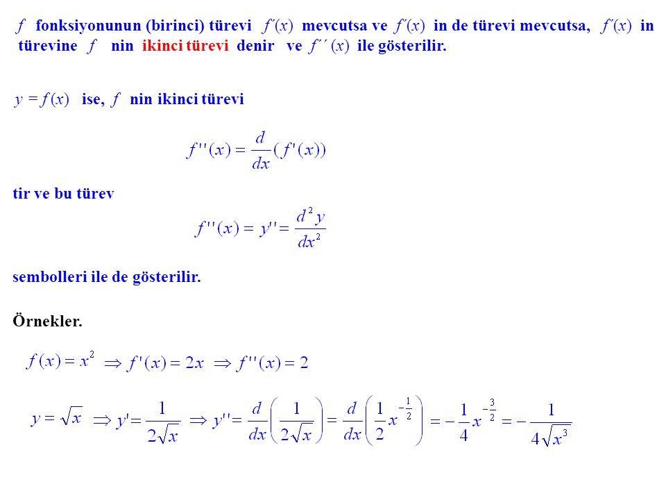 Konkavlık, İkinci Türev. x y (a, b) aralığında yukarı doğru konkav (concave - up) y = f(x) x y ab a b (a, b) aralığında aşağı doğru konkav (concave -