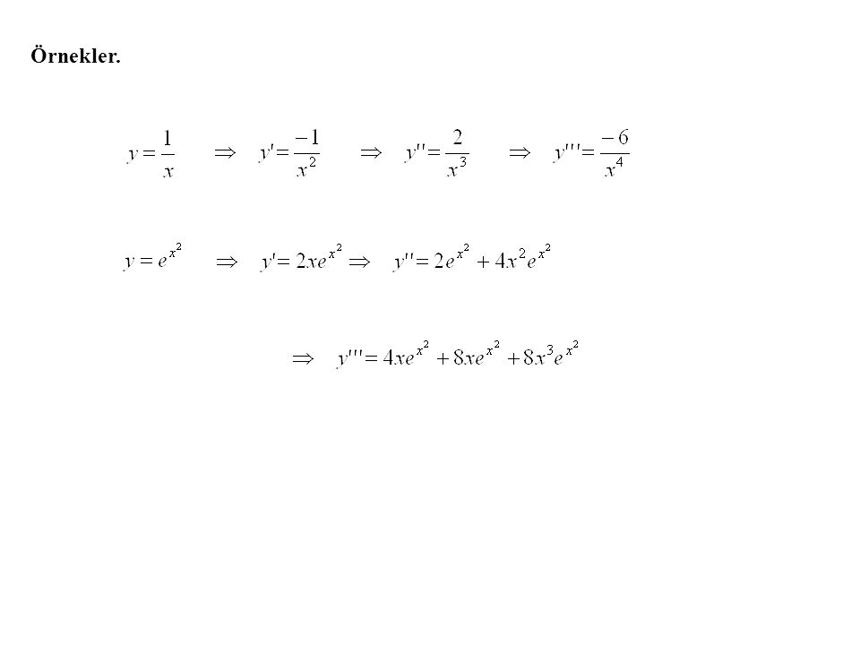 f fonksiyonunun (birinci) türevi f´(x) mevcutsa ve f´(x) in de türevi mevcutsa, f´(x) in türevine f nin ikinci türevi denir ve f´´ (x) ile gösterilir.